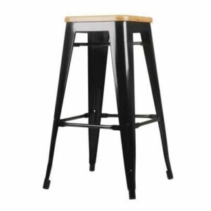 Replica Tolix Kitchen Bar Stool Bamboo Seat 66cm Black