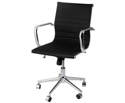 chair eames replica pu leather designer office chair black or white - White Armless Office Chair