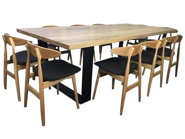 King dining table hardwood with unique round cornered metal legs lumber furniture - King furniture dining table ...
