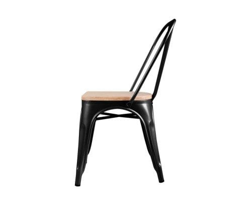 Replica Tolix Dining Metal Chair Bamboo Seat Black, White, Silver