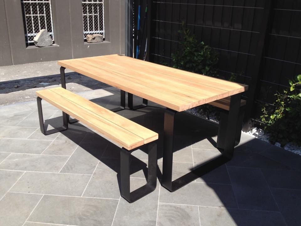 Steel Top Dining Table Set With Bench