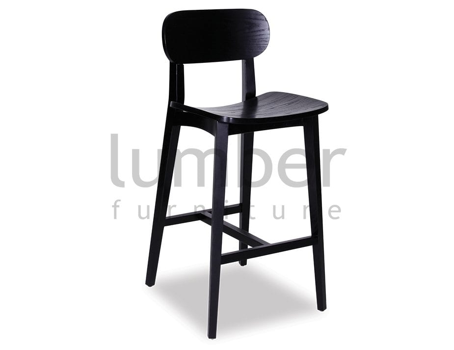 Natalie Bar Stool – Natural or Black American Ash Frame with Black Seat Pad