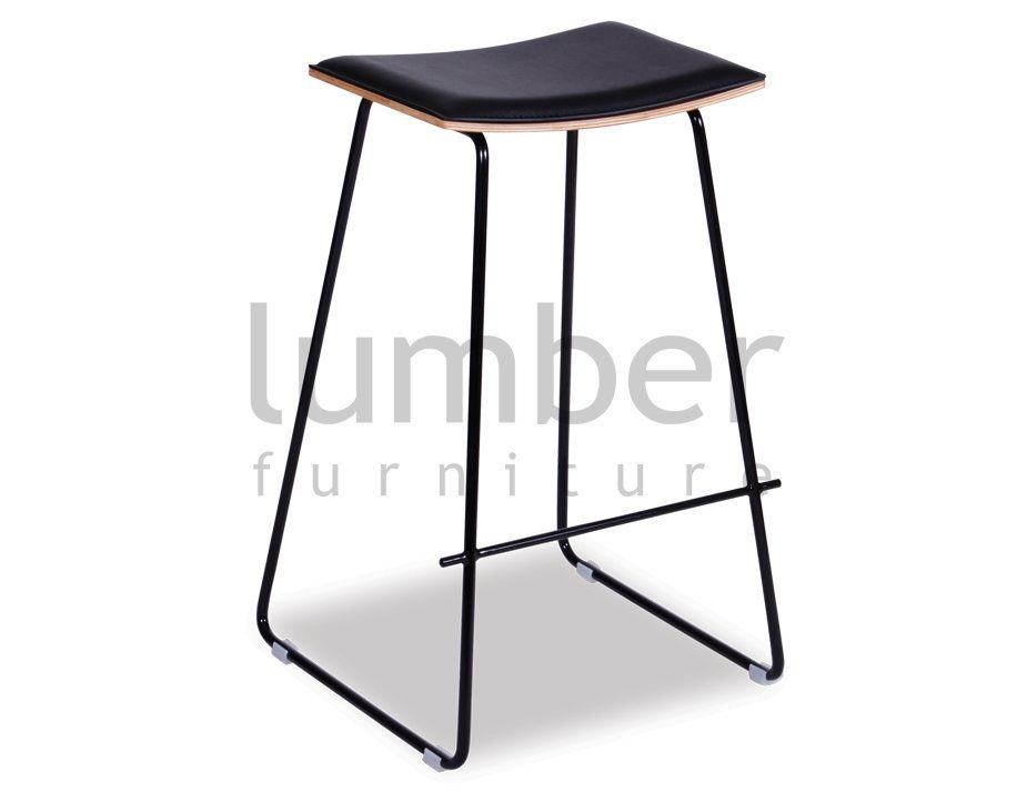 Yvonne Potter Y Design Timber Counter Stool Replica – Black Frame / Black Padded Seat