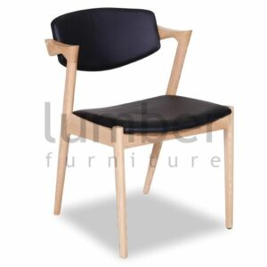 Replica Kai Kristiansen Dining Chair - Natural American Ash - Black Upholstered Seat
