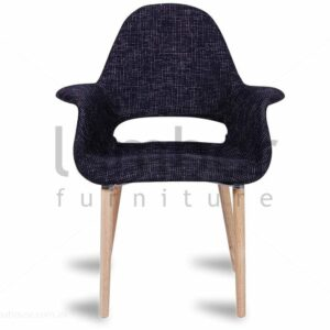 Replica Eames Saarinen Organic Chair - Charcoal Tweed w/ Natural American Ash Timber Legs