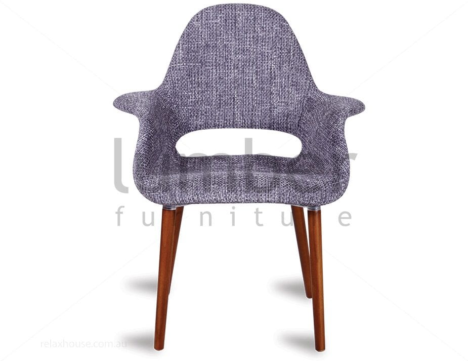 Replica Eames Saarinen Organic Chair – Charcoal Tweed w/ Natural American Ash Timber Legs