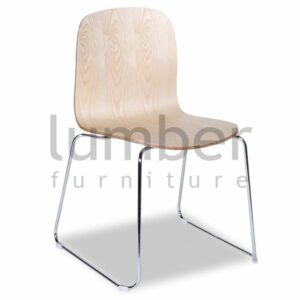 Chloe Chair Natural American Ash Seat with Chrome Steel Sled Base Legs
