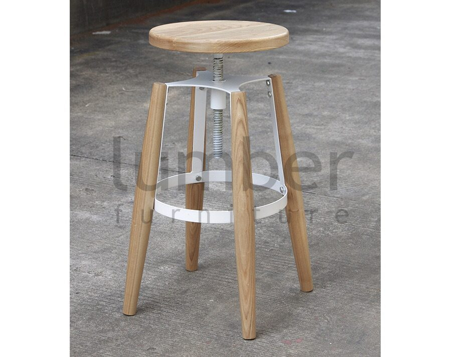 Jet Stool – American Ash Timber Seat and Legs – Black Frame