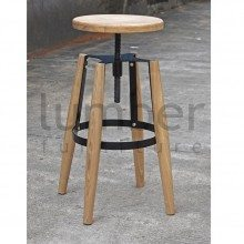 Jet Stool - American Ash Timber Seat and Legs - Black Frame