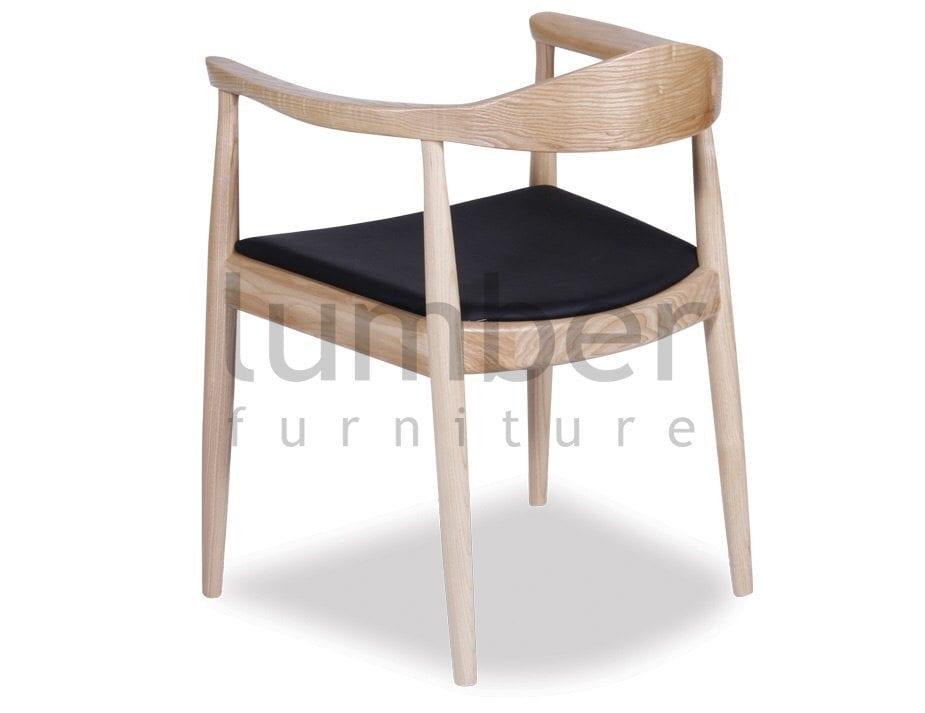 Hans Wegner Round Arm Chair PP503 Replica – Natural American Ash w/ Black Seat (Copy)