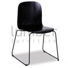 Chloe Chair Black Stained American Ash Seat with Black Powdercoated Steel Sled Base