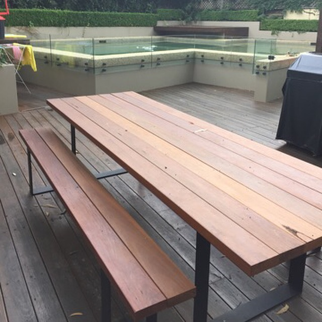 Stephanie s Outdoor Spotted Gum Table set Lumber Furniture