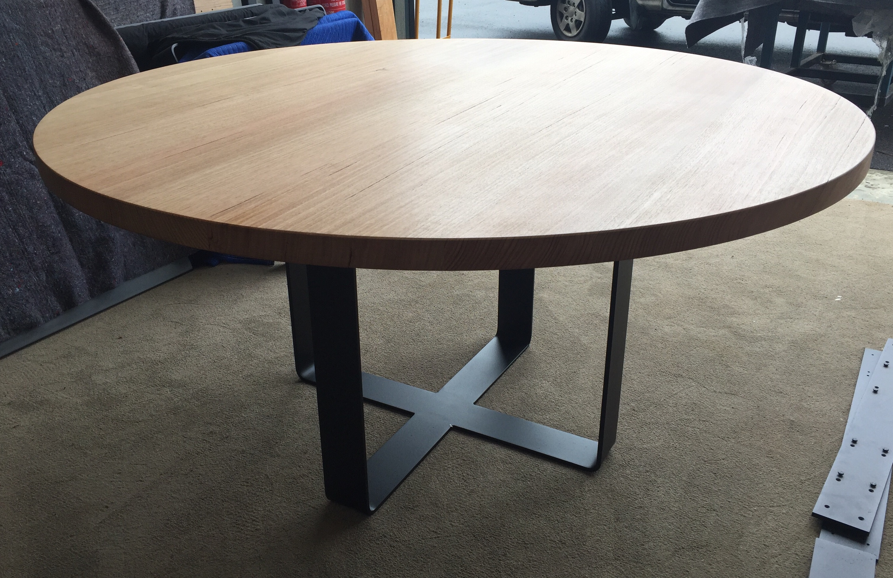 Round dining table mounted onto king or monarch loop legs lumber furniture - King furniture dining table ...